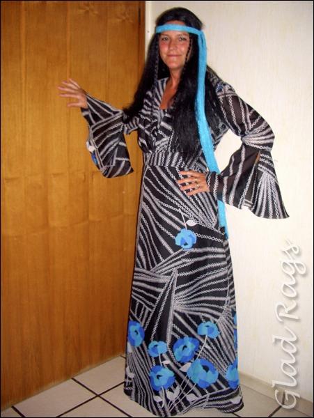 Flower Power Kleid Damen 70er Jahre Kostüm